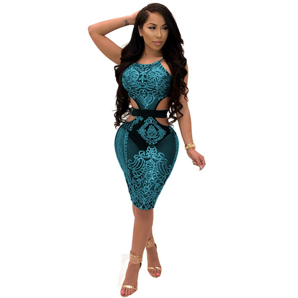 f4bb482604 Sexy Sequins Dress Sheer Mesh Cut Out Club Party Dresses Sleeveless Package  Hip Midi Bodycon Dress Summer Dresses Women 2019