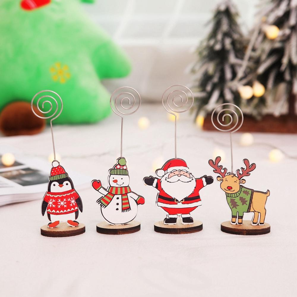 Cute Christmas Cartoon Print Card Holder For Message Folder Table Photo Clips Memo Num ber Name Clips Gift Decoration #15F