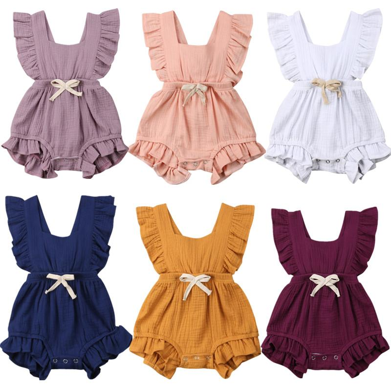 2dc80464e7b 2019 Newborn Baby Girls Ruffle Solid Color Romper Backcross Jumpsuit  Outfits Sunsuit Baby Clothing From H6241163