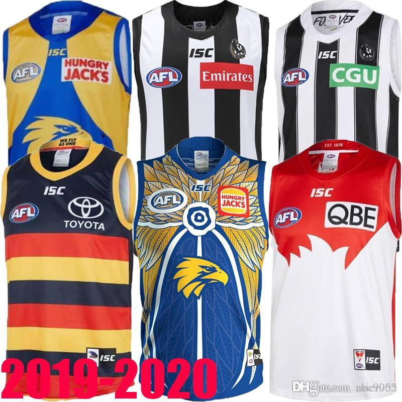 primeiro 2019 2020 West Coast Eagles Guernsey Adelaide Crows Collingwood Magpies casa Eddie Betts 300 sem mangas melhor qualidade AFL jersey