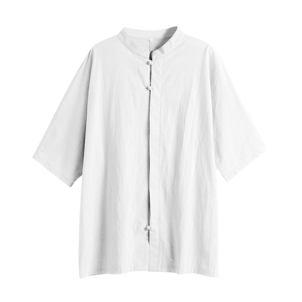 30ea98b2d 2019 Short Sleeve Cotton Shirt Plus Size Men Casual Henley Shirt Pure Color  Stand Collar Simple Loose Clothes L 5XL Blouse /PT From Clothwelldone, ...