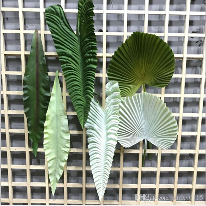 Artificial flower fanshaped Wall hanging leaves wedding flower living room home decoration plastic real touch flower wall wedding decoration