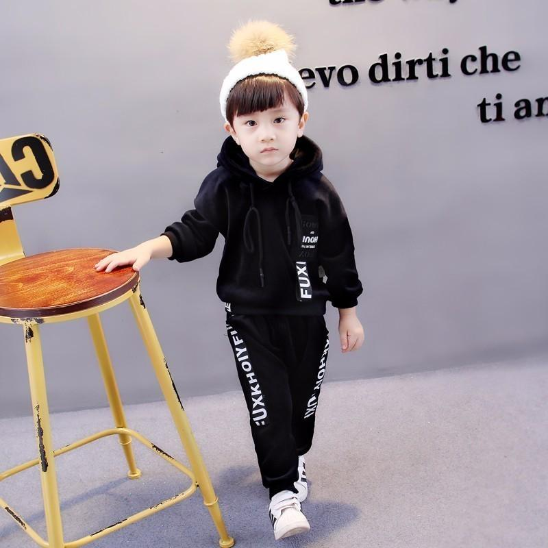 751eeb50f199 2019 Baby Girl Boys Clothing Sets Kids Autumn Winter Casual Letter Hooded  Velvet Children's Sports Suits Clothes 1 2 3 4 5 Years