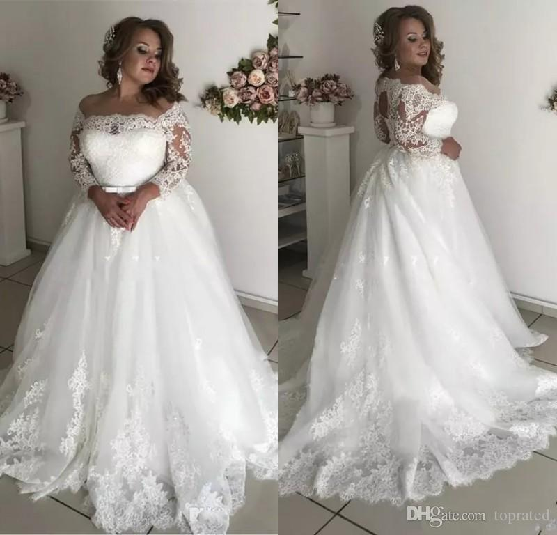 Traditional Wedding Gowns With Long Sleeves: Discount 2019 Modest Plus Size Wedding Dresses Sheer Neck