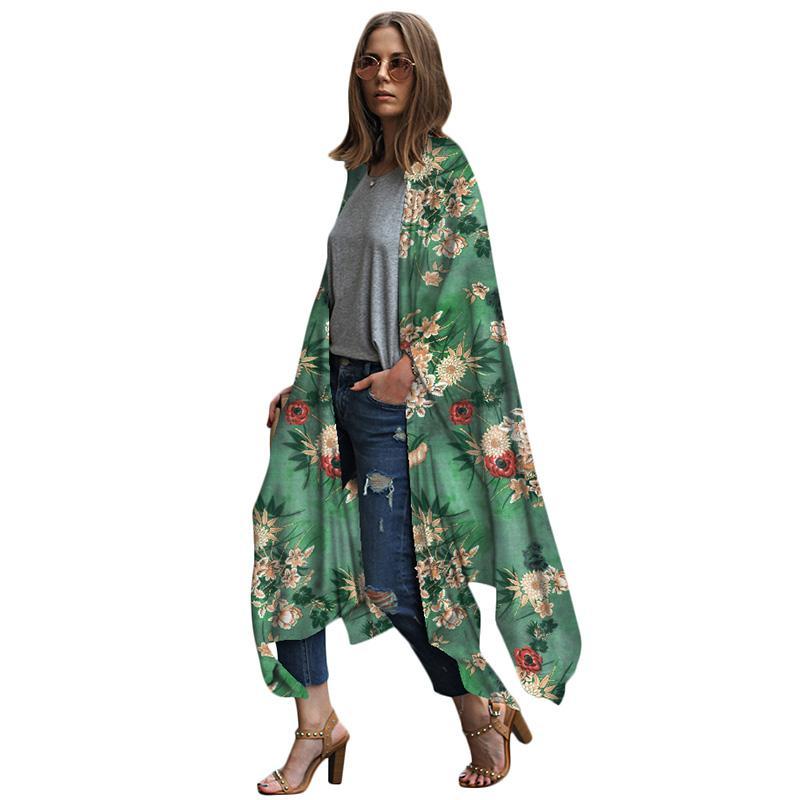 4d1ea813c9 2019 Women Chiffon Kimono Cardigan 2019 Summer Beach Boho Long ...