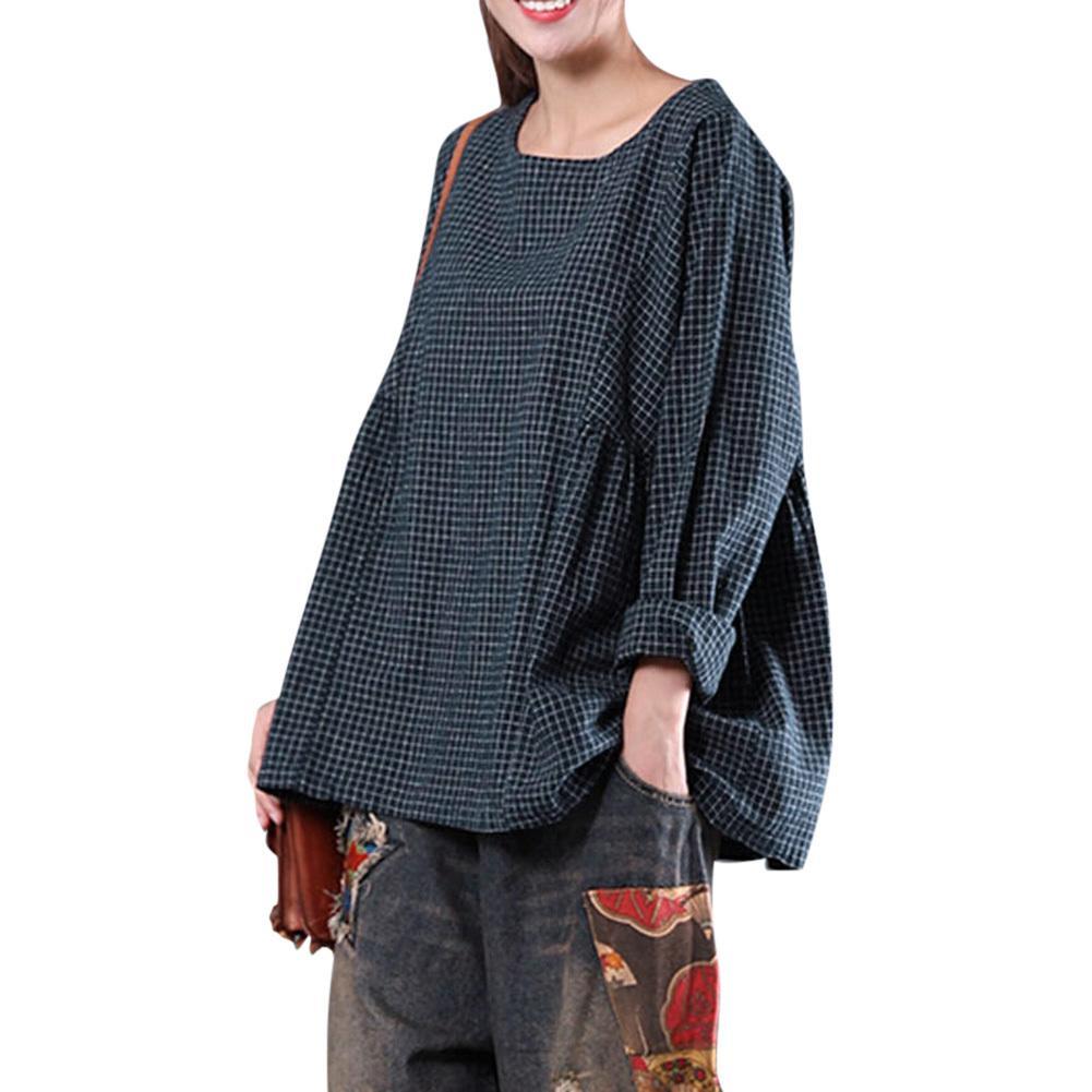 d74301508eb98 2019 2019 New Women Cotton Linen Blouse Vintage Oversized Plaid Shirt O Neck  Long Sleeve Loose Casual XXXL 4XL Plus Size Blouse Tops From Stephanie12