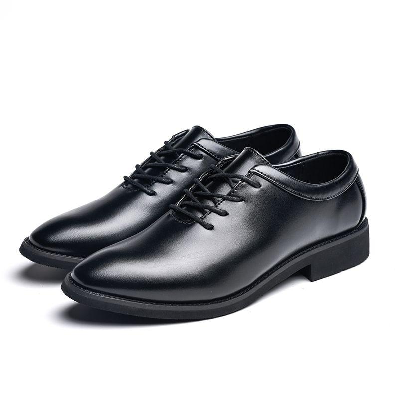 info for 64bc6 ed0bc Männer Schuhe Wohnungen 2019 neue Mode England PU Lederschuhe  High-End-Anzug Herren Business Schuhe schwarz Größe 39-44