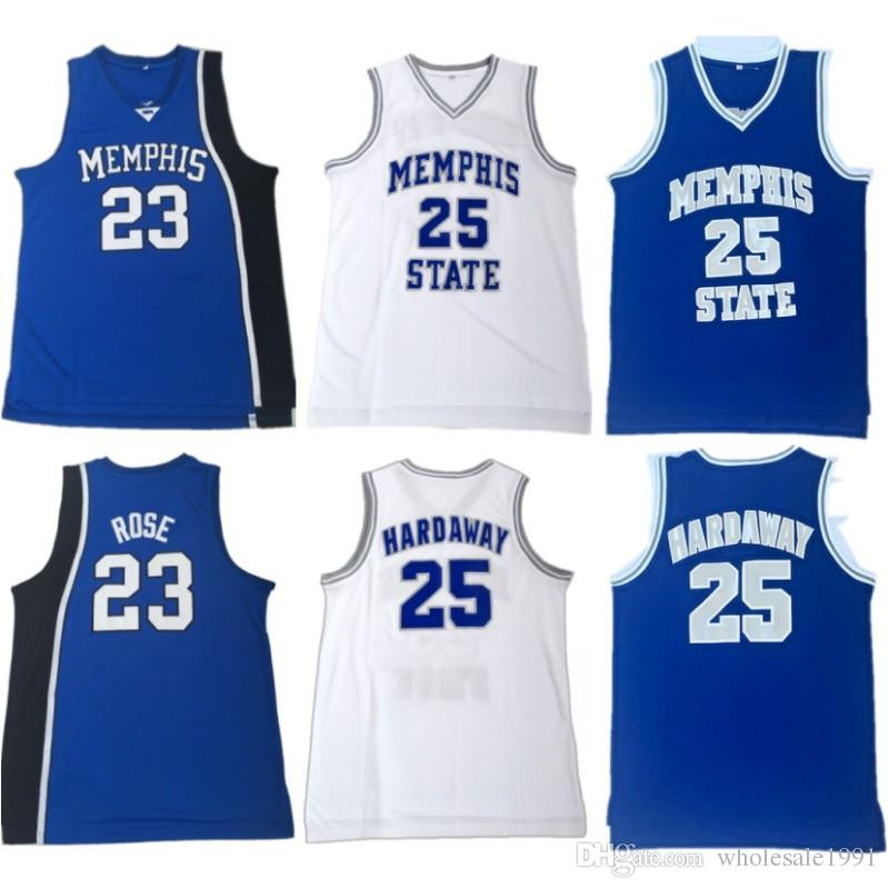 new concept 677f5 3c4a1 23 Derrick Rose College Basketball Jersey Memphis Tigers University Jersey  Stitched Mens 25 Penny Hardaway Blue White Shirt