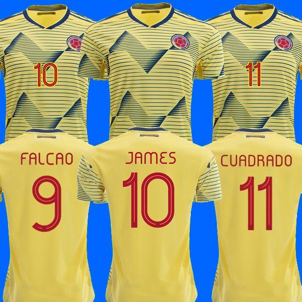 wholesale dealer 85b39 4af9f Colombia soccer jersey copa america 2019 colombia football shirt JAMES  Rodriguez Camiseta de futbol FALCAO CUADRADO maillot de foot camisa