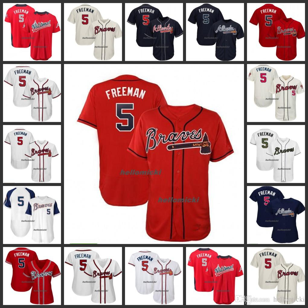 best service 650fc 63eab Mens 5 Freddie Freeman 2019 Braves Jersey Mens Woman Youth Atlanta White  Navy Red Gray Home Road Away All Stitched Jerseys
