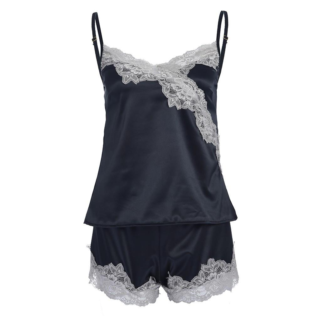 f2d856401e0 Ladies Sexy Silk Satin Pajama Set Lace Pyjama Set Sleeveless Pijama Set V-neck  Sleepwear Summer Home Wear Sleep Wear For Women Sexy Underwear Sexy Pyjamas  ...