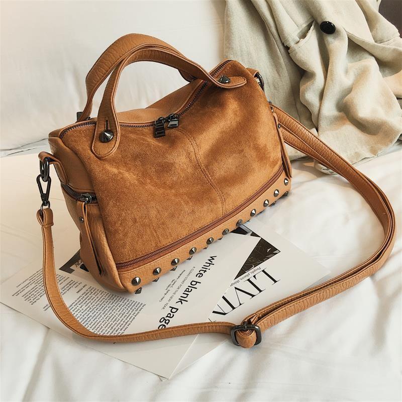bc53e2a1c7c9 Designer LEFTSIDE Rivet Big Handbag For Women 2019 High Capacity Shoulde Bags  Female Crossbody Bag Soft Pu Leather Messenger Bag Winter Handbags  Wholesale ...