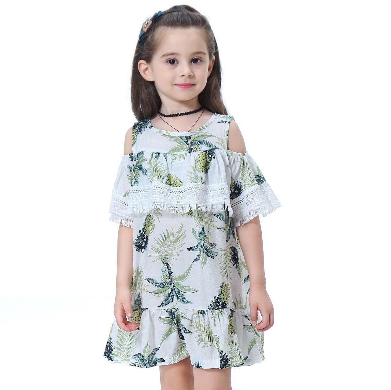 0180410c461 Acheter Style D été Fille Robe Enfant Mode Dentelle Manches À L épaule  Ananas Princesse Robe Enfants Bébé Vêtements En Coton De  11.06 Du ...