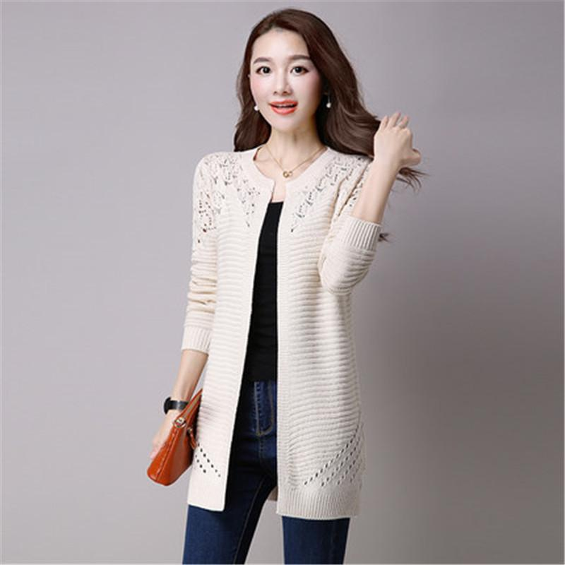 9cc5d5fa4606c 2019 New Fashion Plus Size 4XL 2018 Spring Autumn Women S Sweater Long  Sleeve Female Long Knitwear Hollow Out Lace Cardigan Coat A926 Y18110601  From ...