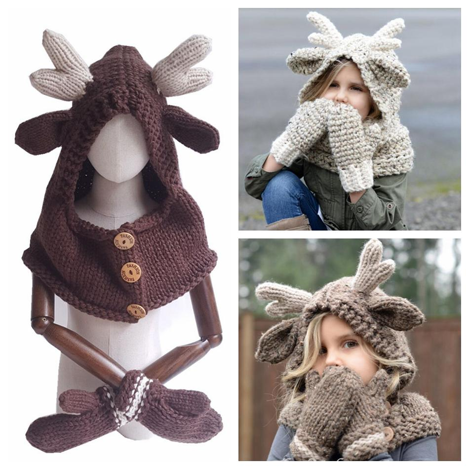 e623450033f0d 2019 Elk Hooded Hat Scarf Gloves 3 In 1 Baby Warm Knitting Caps Christmas  Gift Kids Hat Glove Set Crocket Hat OOA5988 From B2b life