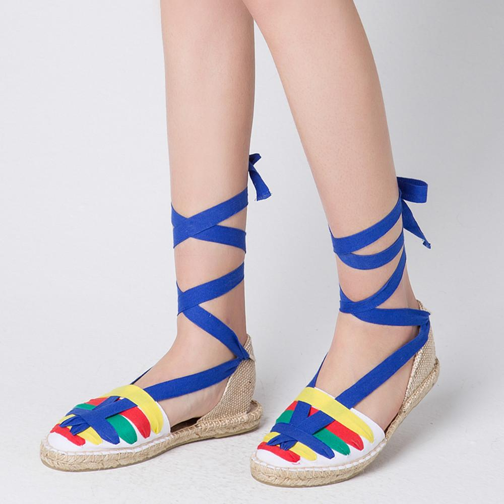e9357b76dbeb Women S Sole Lace Up Flats Sandals Multicolor Riband Cross Strap Summer  Sandalias Leisure Espadrilles Comfort Comfort Shoes Sandal Ladies Shoes  From Clownie ...