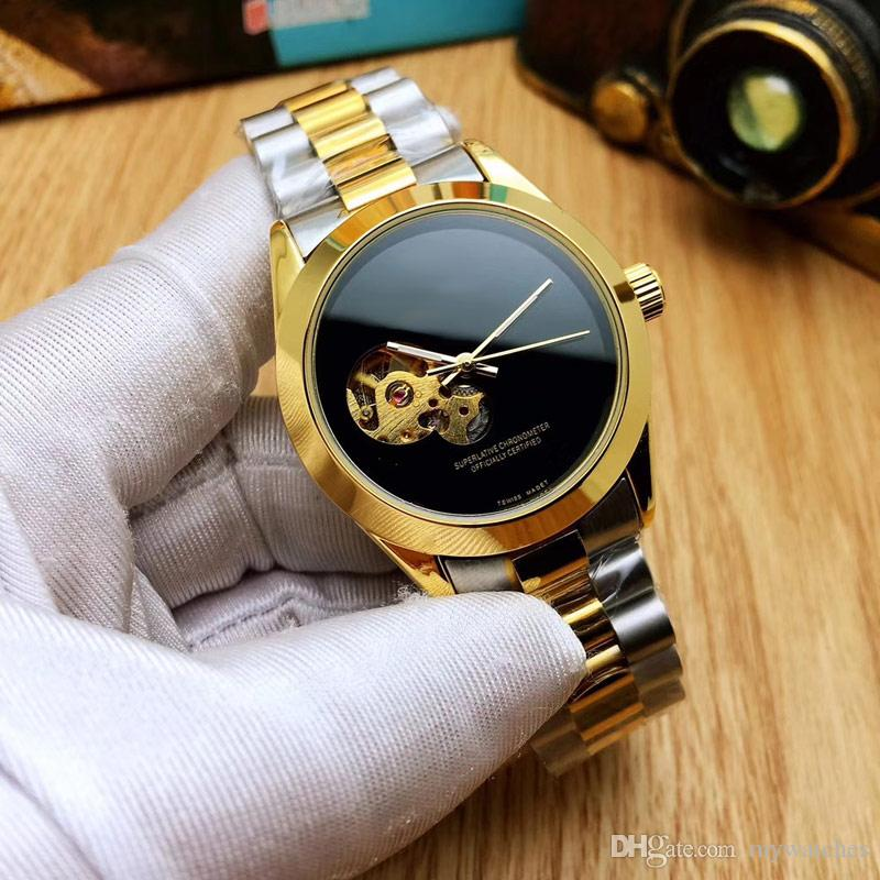 Hot luxury Mens watches Top brand Mechanical automatic flywheel gold 39mm dial Full Stainless Steel band watch for men best gift relogios