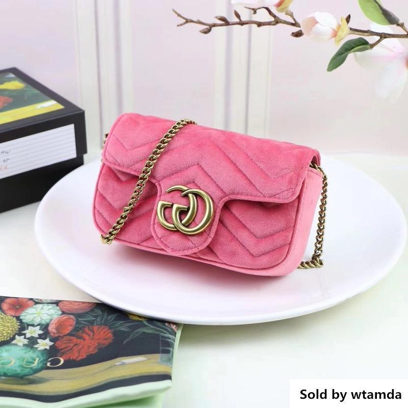 Designer Top Quality Design Letter Embossing Mini Heart Cluth Velvet Shoulder Chain Bag Women Genuine Leather 476433 Messenger Bag