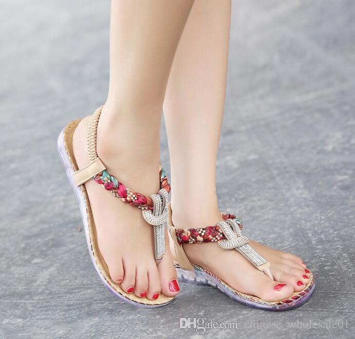 3612498af 2019 UMMEWALO Summer Sandals Women T Strap Flip Flops Thong Sandals ...