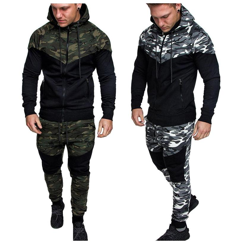 Mens Designer Camouflage 2 Pieces Set Luxury Zipper Brand Casual Outfit Fashion Spring L-5XL New Arrive Tracksuit 2020new