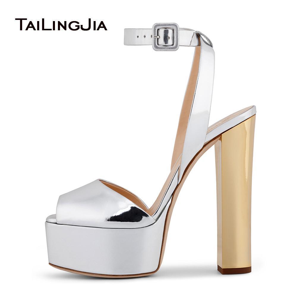 Peep Toe Platform High Heel Sandals For Women Shiny Patent Black ...