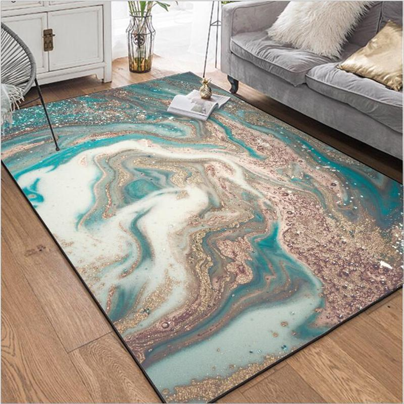 AOVOLL Carpet Bedroom Fashion Modern Abstract Carpet Living Room Marble  Blue White Gold Bedroom Rugs Living Room Kitchen Mat