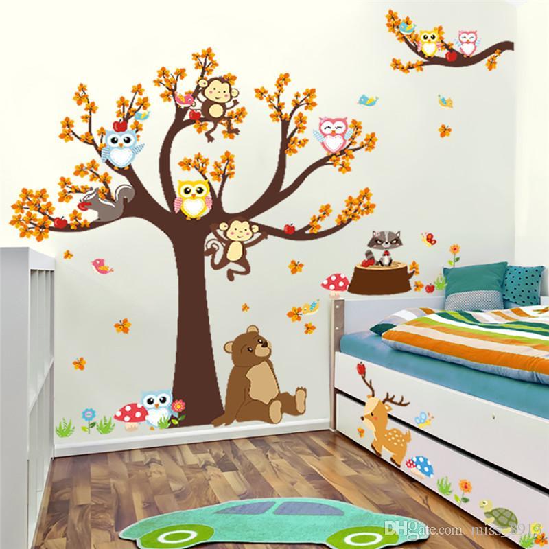 Wald Baum Tier Eule Affe Bär Hirsch Wandaufkleber Kinder Baby Kinderzimmer Schlafzimmer Diy Wandtattoo Wohnkultur Wandbild