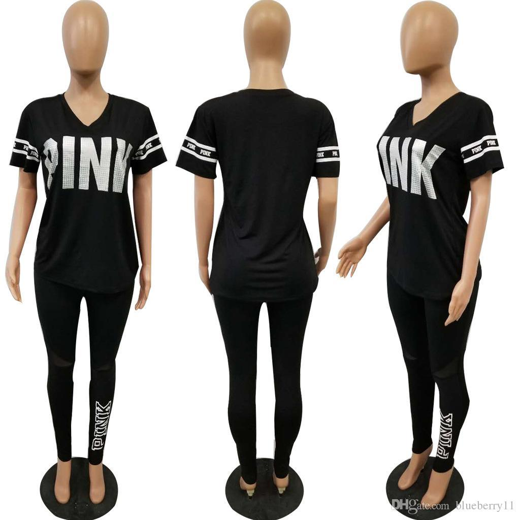 33ca5e9e8ca0 Fashion Women Pink Tracksuits Casual Short Sleeve Tops Two-piece ...