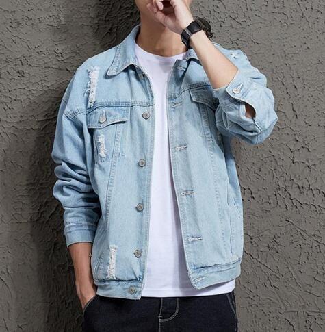 101d37cecad8 2019 Cotton Solid Denim Jacket Mens Spring Autumn Casual Slim Fit Bomber Jackets  Mens Hole Jean Jacket Mens Outwear Male Cowboy Coats Jackets Sale Fashion  ...