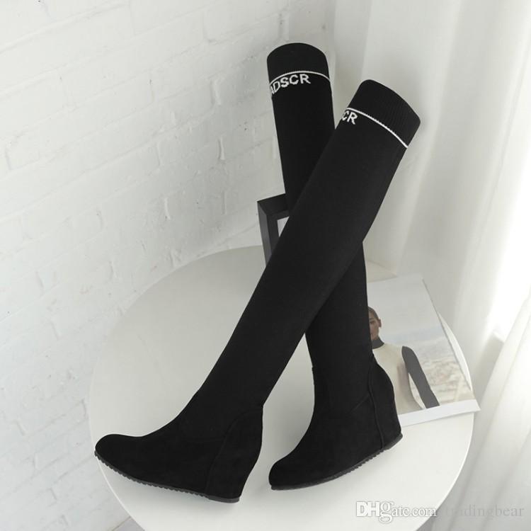 42 ila 43 diz uyluk yüksek çizmeler kama topuk boyutu 33 üzerinde lüks tasarımcı kadın botları siyah alfabe elastik süet