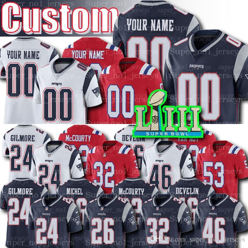 best sneakers 903d9 d2652 Custom Patriots Jersey 26 Sony Michel Jerseys 1 NKeal Harry Jersey 28 James  White 24 Stephon Gilmore 53 Kyle Van Noy 81 Russ Francis