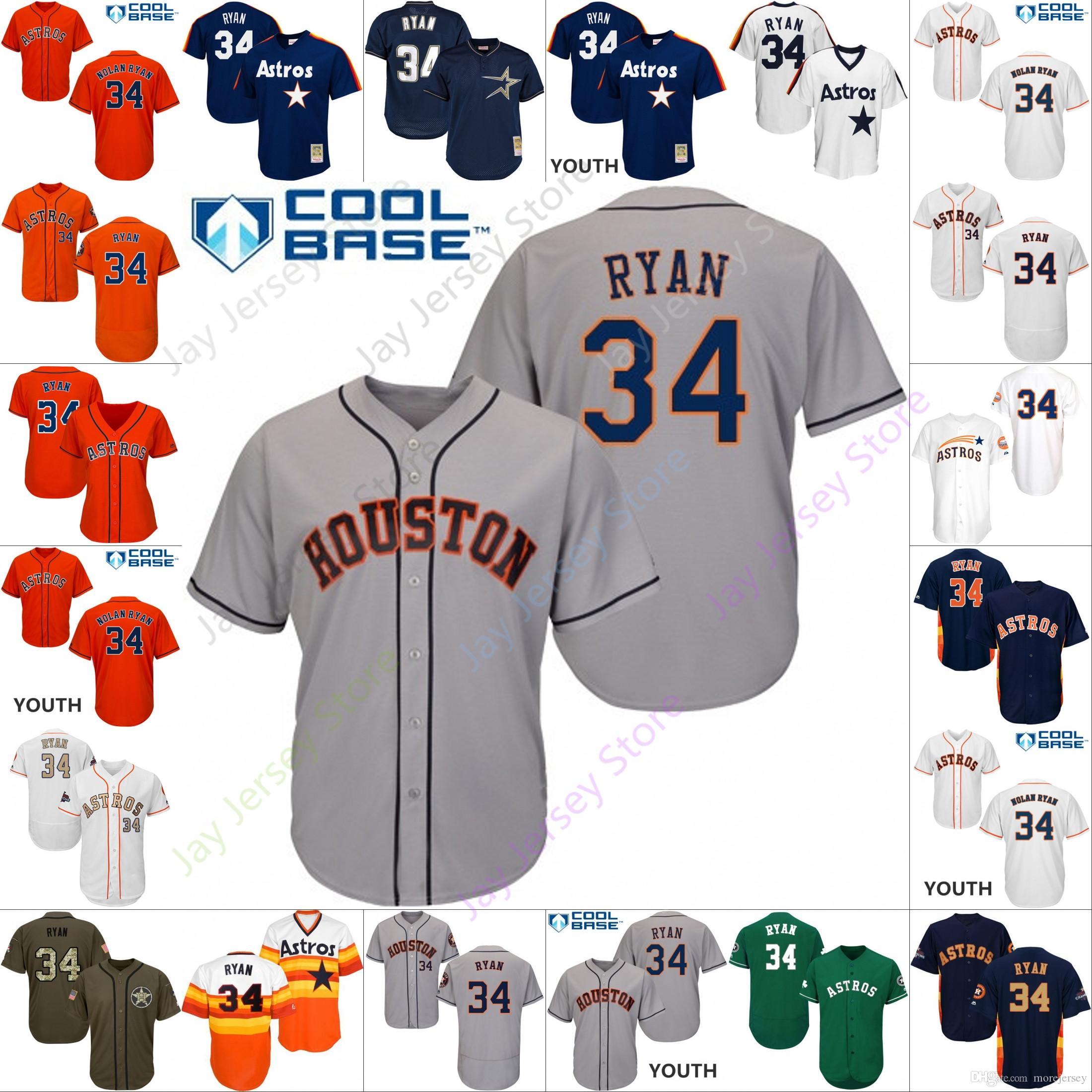 release date: d1b48 a7fe5 2019 Houston 34 Nolan Ryan Jersey Astros Jerseys Cool Base Flexbase Home  Away White Black Red Grey Pullover Button Men Women Youth