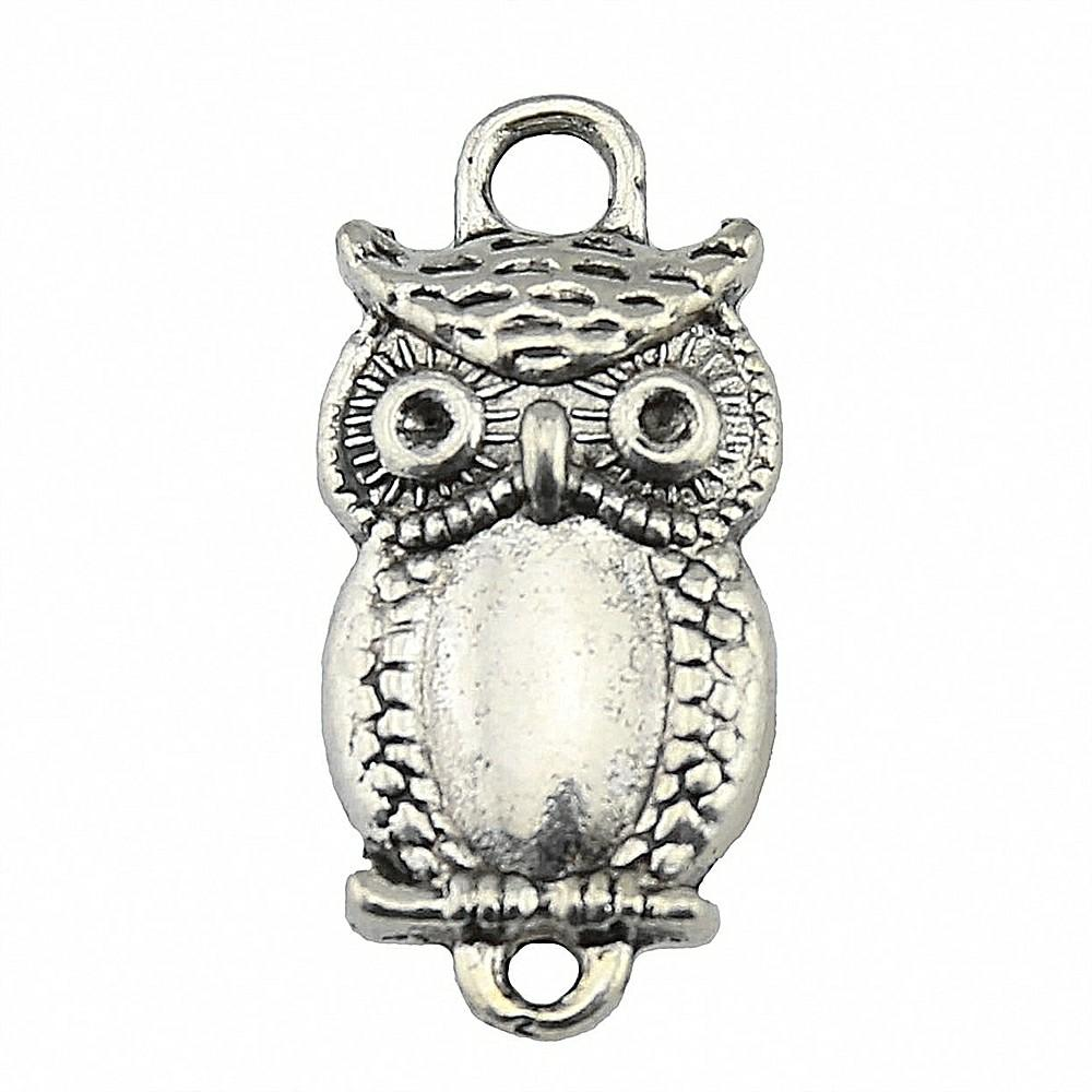 100pcs Owl Charm Connector Bird Owl Charms Owl Connector Antique Silver Charms Jewelry Making Accessories Wholesale 13x27mm