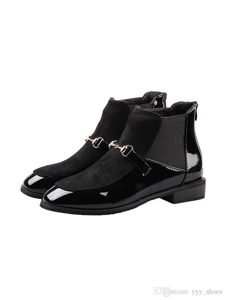 Invierno talón plano dedos redondos botas cortas para mujer zapatos de mujer botines Martin Boots botas de motocicleta hebilla de metal