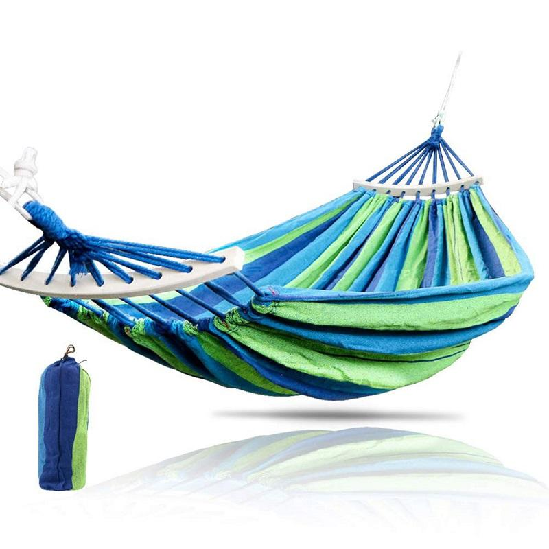 Miraculous 1 2 Person Garden Hammock Portable Outdoor Hammock Sports Home Travel Camping Swing Chair Canvas Stripe Hang Bed Ibusinesslaw Wood Chair Design Ideas Ibusinesslaworg