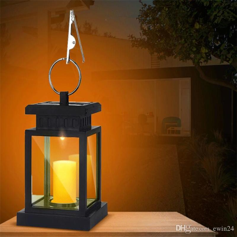 Solar Hanging Lantern Candle Lights Outdoor Candle Effect Light with Hooks for Garden Patio Lawn Deck Umbrella Tent Tree Yard