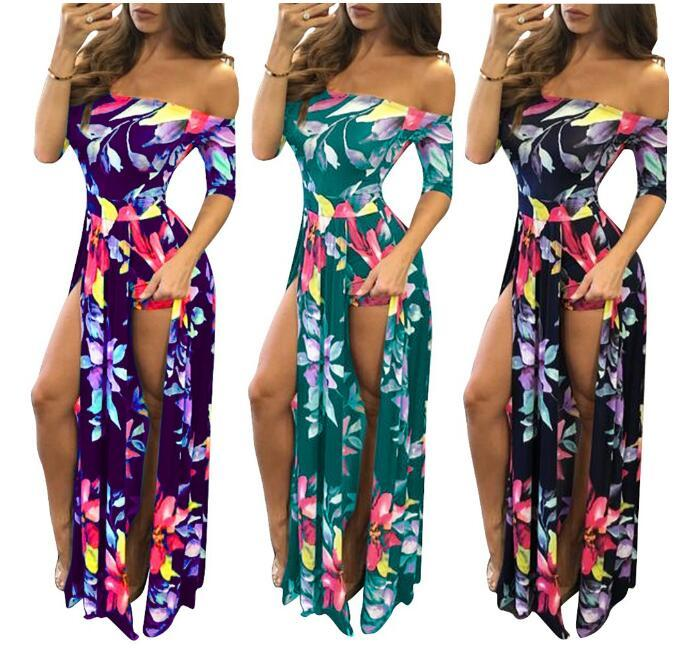 Hot style spring/summer 2019 European and American foreign trade fashion sexy large size women's digital printing one-piece slit dress