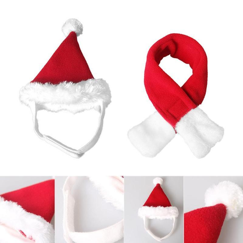 Adjustable Santa Claus Dog Costume Christmas Pet Dog Puppy Cat Hat Scarf Cute Lovely Christmas Supplies Party Costume Accessory