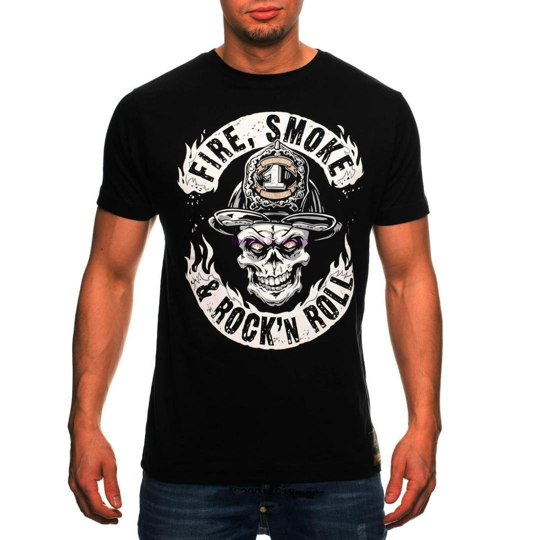 c1e8f50e Firefighter Firemen Fire Smoke Rock 'n' Roll Men's 100% Cotton T-shirt