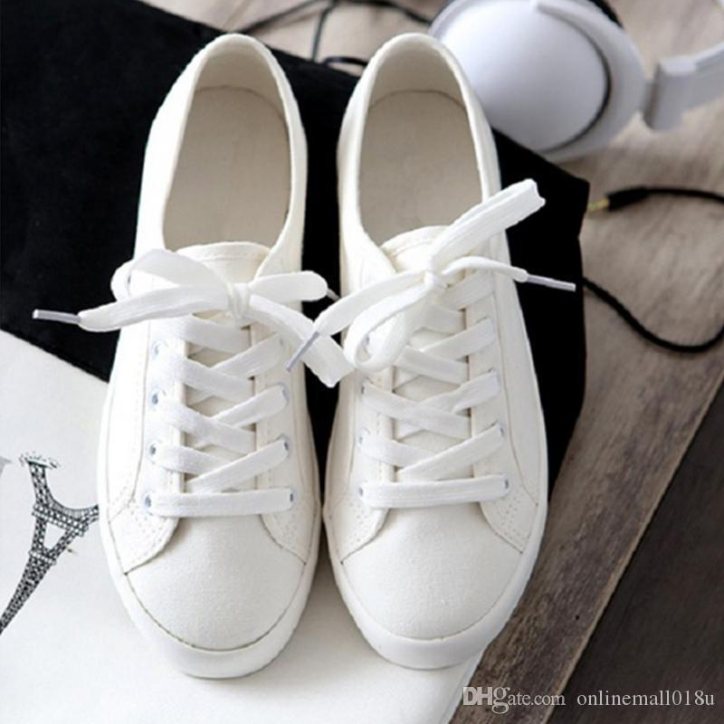 11a2d4d544 2019 Spring New Canvas Shoes Woman Fashion Lace Up White Shoes Woman Flats  For Lady S Size 35 40 Boat Shoes For Men Navy Shoes From Onlinemall018u