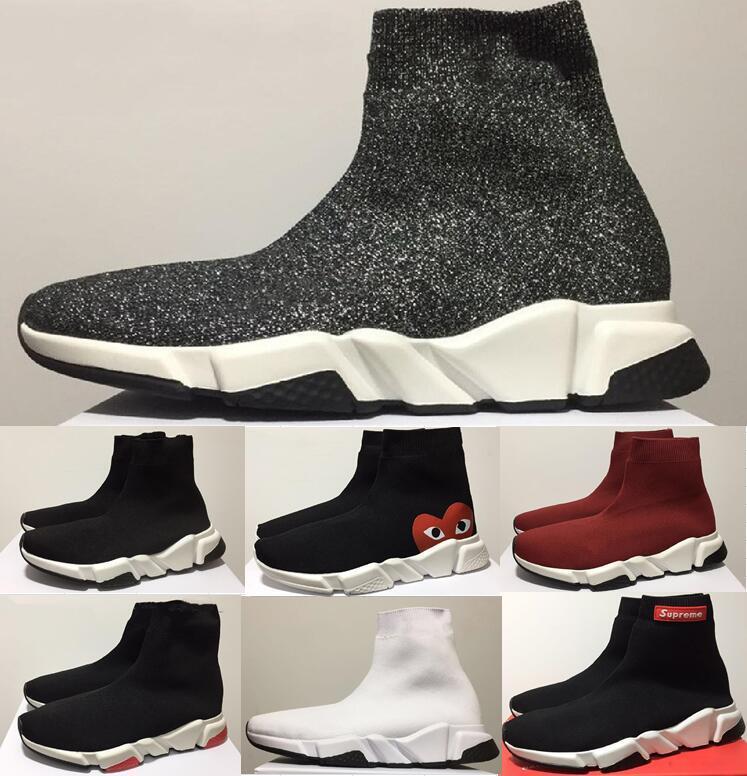 30631b9a Compre 2018 Marcas De Lujo Unisex Zapatos Casuales Planos De Moda Los  Hombres Calcetines Zapatos Rojo Triple Negro De Malla Elástica De Alta  Superior De Las ...