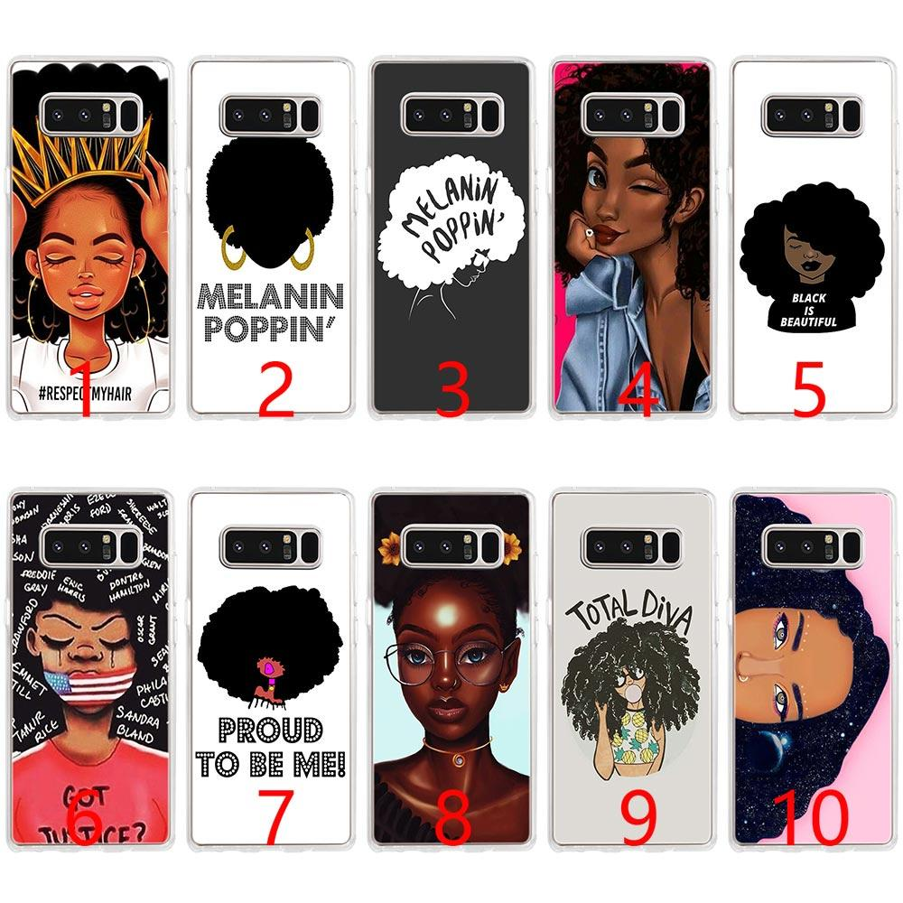 huge selection of 10845 0d498 MELANIN POPPIN Black Gir Soft Silicone Phone Case for Samsung Note 9 8 S7  Edge S8 S9 Plus Cover