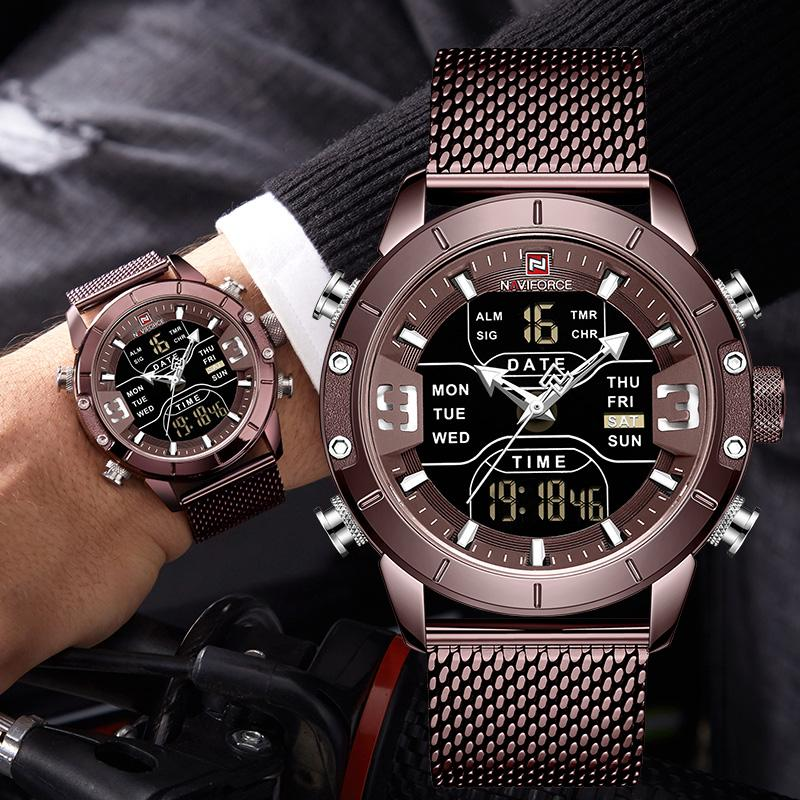 NAVIFORCE Men's Wrist Watch Male Steel Waterproof Quartz Army Chronograph Sport Watch Relogio Masculino