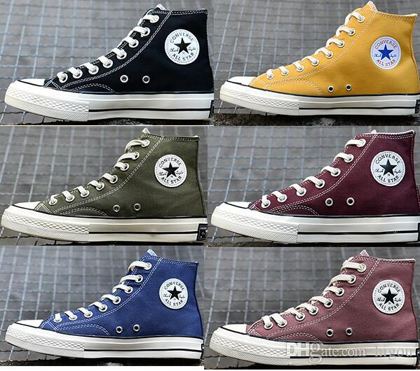 on sale 5b17d 38d96 Hot Fashion 1970s Converse Chuck All Star Yellow Green Blue Casual Shoes  Canvas Shoes Women Men Designer Trainers Skate Sneakers Zapatos Walking  Shoes Flat ...