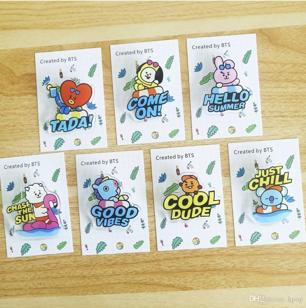 14pcs/lot free shipping bts bt21 blind box same style plastic pin/brooch