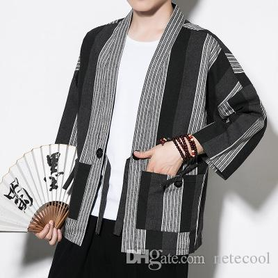 e3c53db1bec141 Chinese Kimono Cardigan Men Costume Cotton Linen Kimono Cardigan Men Kung  Fu Kimono Jacket Men Han Clothing 2018 Hotsale Plus Size Coats Mens Brown  Leather ...