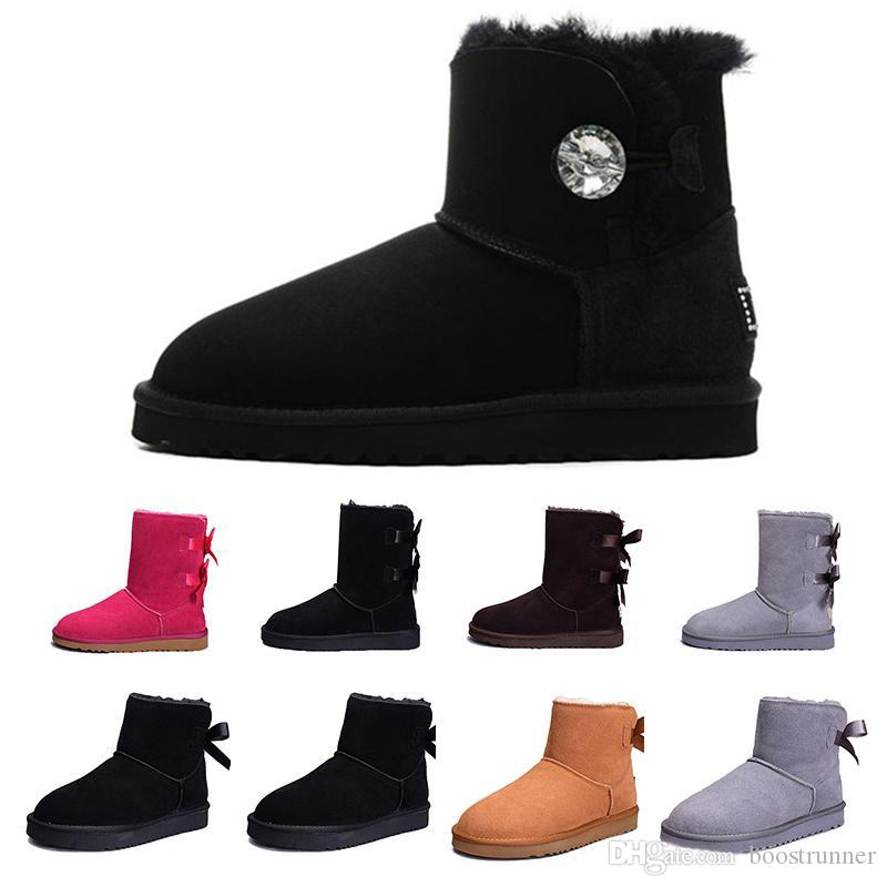 a9e903bdc01eb Women And Girls Winter Snow Boots Fashion Australia Classic Short Bow Boots  Ankle Knee Designer Luxury Brand Sneakers Womens Shoes 36-41
