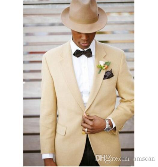 Summer Dark Champagne Suits Blazer With Black Pants Men's Wedding Groom Tuxedos Groomsman Best Man Evening Party Suits