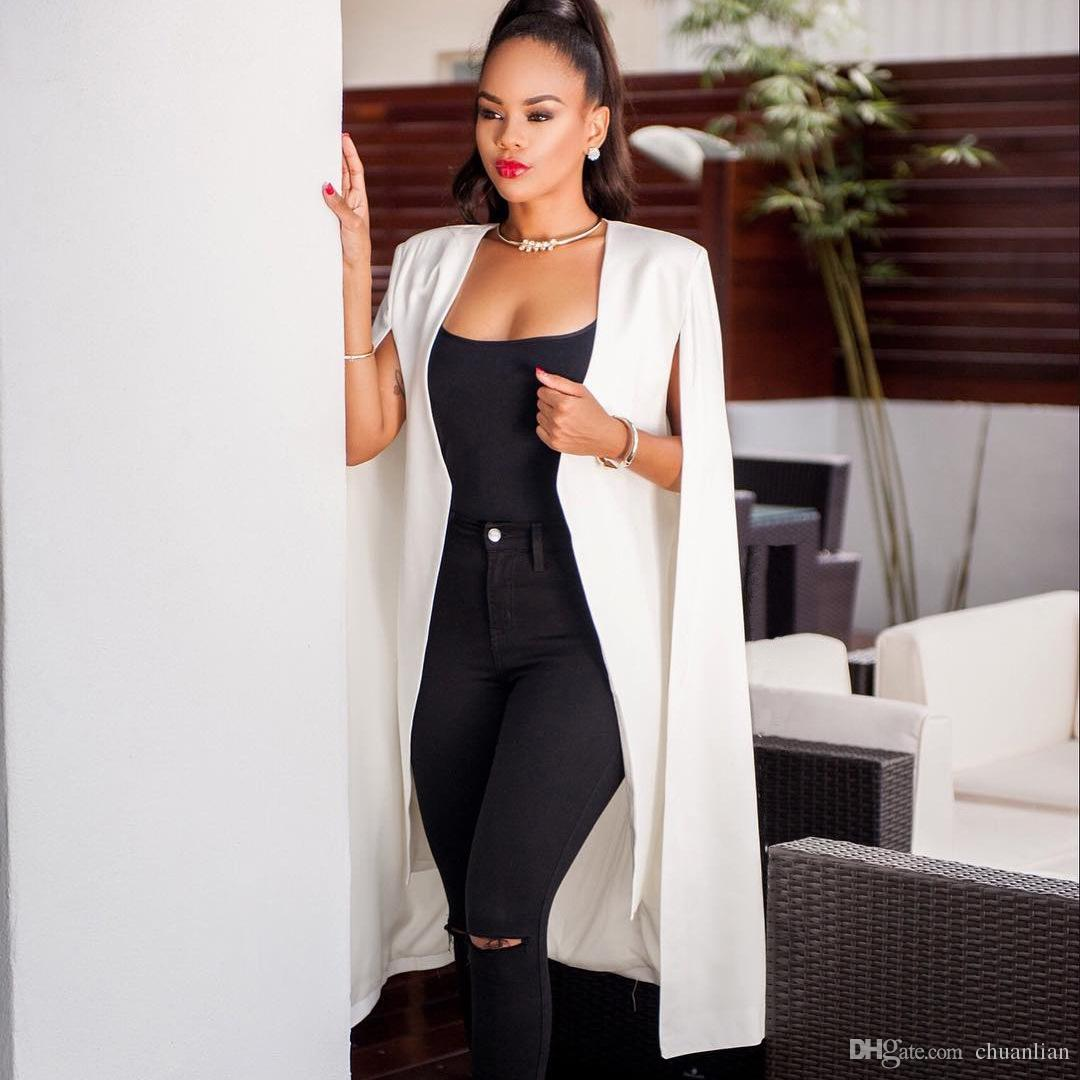 a041e971615c Acheter MODISON Blazer Femmes Cape Manteau Longue Cape OL Blazer Vestes  Populaire Noir Blanc Cape Blazers Personnalité Femmes Costume Vestes De   6.04 Du ...