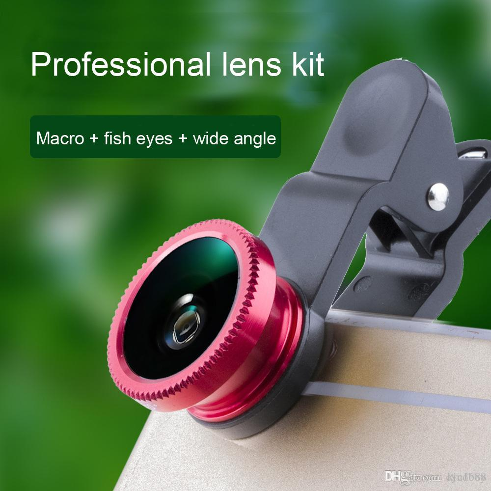 wide angle lens 3 in 1 Universal Clip Fish Eye Wide Angle Macro Phone Fisheye glass camera Lens For iPhone Samsung